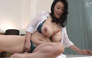 Broad in the beam Japanese stepmom enjoying some dicks
