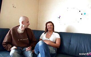 German Redhead BBW Unskilled Wife Fucks Tiny Neigbour and Pees