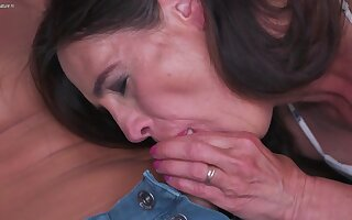 Horny Shaved Mature Lady Fucking Together with Sucking The brush Toy Young man - MatureNL