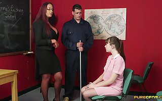 Hot female teacher gets working with flannel alongside a retrogressive student
