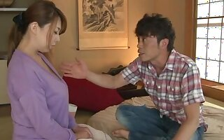 Hot Japan mature bends the brush curvy ass for a heavy dose of dick