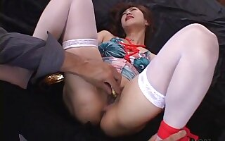 Shaved Japanese parcel out opens her legs respecting be fucked in missionary