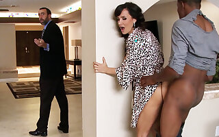 Spouse returned when housewife rails Chunky Jet-black COCK