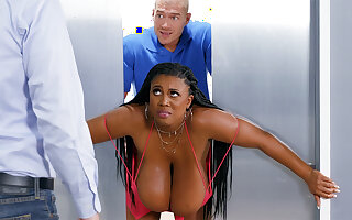 Immerse b reach huge-chested black screwed stiff wide of custodian