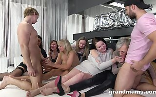 Nasty German pussy and ass fucking on the floor with a lot of people