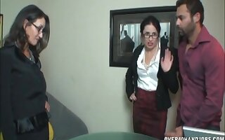 Two mature ladies spread their legs to tease and give a handjob