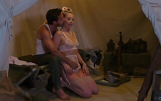 Attractive nurse Aaliyah Love on her knees making a soldier happy