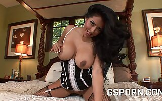 Busty latina maid with cum-stained tits