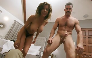 Wild fucking between a handsome gay blade and busty MILF Alexis Fawx