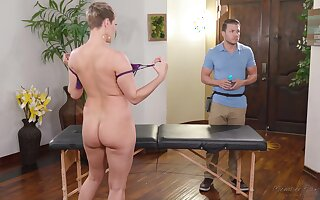 Big teat MILF Ryan Keely wants to drain say no to masseur's balls